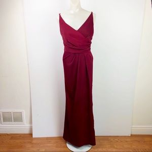 BIRDY GRAY Fit and flare Burgundy V-Neck Gown